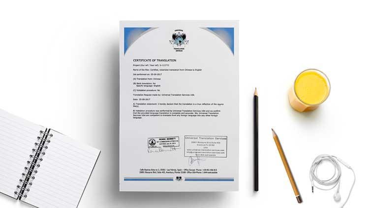 Certificate of Translation Sample