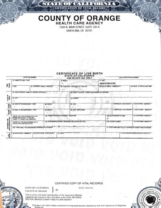 birth certificate sample usa