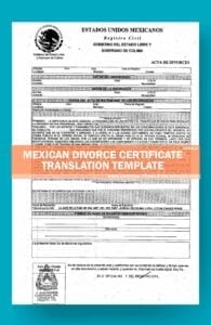 mexican divorce certificate translation template