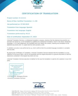 example certificate certified translation